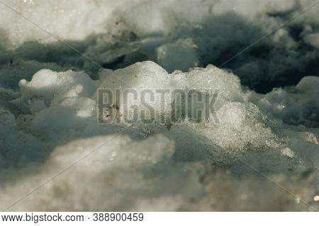 Ice Floe Strange Shape On Top Of Snowdrift, Moscow