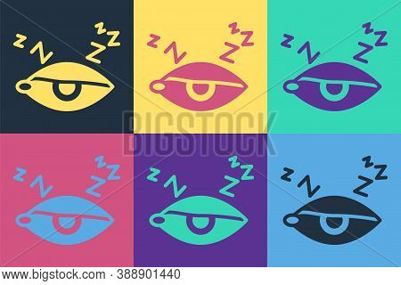 Pop Art Insomnia Icon Isolated On Color Background. Sleep Disorder With Capillaries And Pupils. Fati