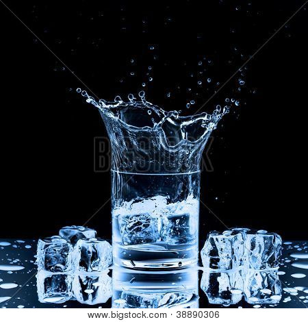 Close up view of the splash in water on black