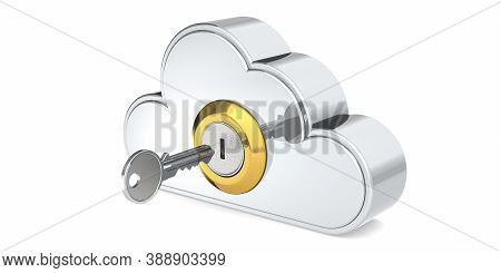 Security Concept Of Cloud Computing With Metal Key, 3d Rendering