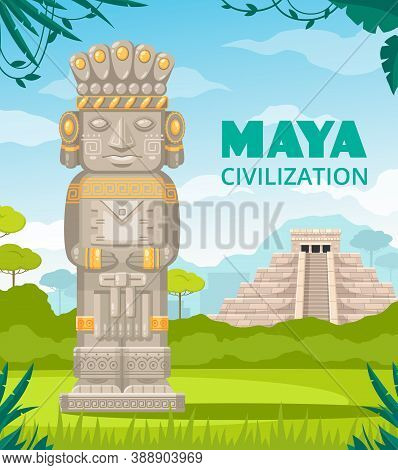 Maya Ancient Civilization Culture Architectural Monuments Staircase Temple Rulers Deity Sculpture Ou