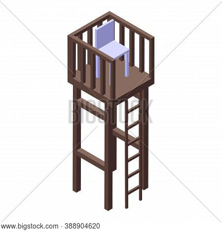 Rescuer Sea Wood Tower Icon. Isometric Of Rescuer Sea Wood Tower Vector Icon For Web Design Isolated