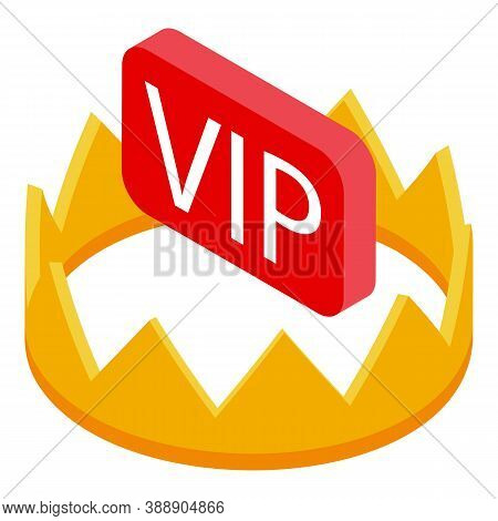 Vip Gold Subscription Icon. Isometric Of Vip Gold Subscription Vector Icon For Web Design Isolated O