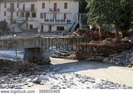 Breil-sur-roya, France - October 8, 2020: Bridge, Houses And Trees Was Destroyed By Flooding Of The