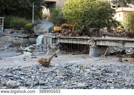 Breil-sur-roya, France - October 8, 2020: Bridge Was Destroyed By Flooding Of The Roya River During