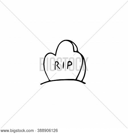 Vector Doodle Tomb With Lettering Rip. Outline Grave Isolated On White Background. Headstone On The