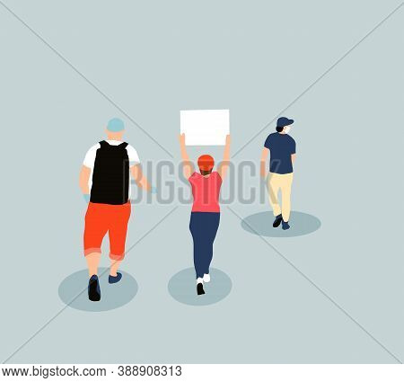 Females Holding Blank Sign Board During A Protest. Street Demonstration Vector Concept. Illustration