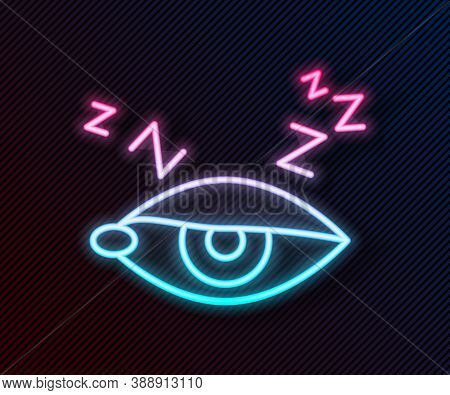 Glowing Neon Line Insomnia Icon Isolated On Black Background. Sleep Disorder With Capillaries And Pu