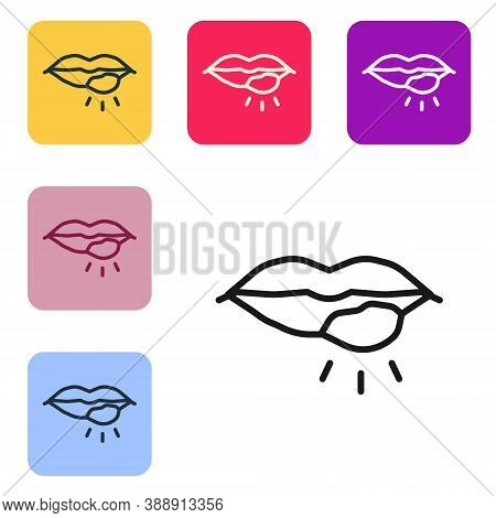 Black Line Herpes Lip Icon Isolated On White Background. Herpes Simplex Virus. Labial Infection Infl