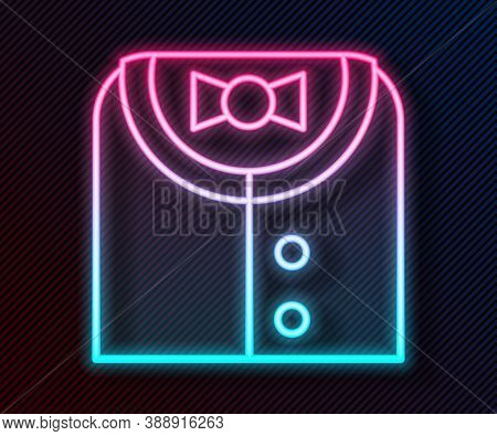Glowing Neon Line Suit Icon Isolated On Black Background. Tuxedo. Wedding Suits With Necktie. Vector