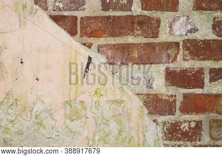 Old Brick Wall Close Up. Grunge Background