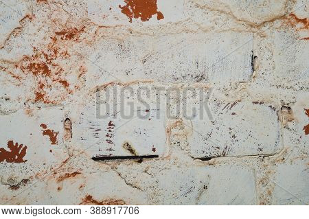 Old Painted Brick Wall Close Up. Grunge Background