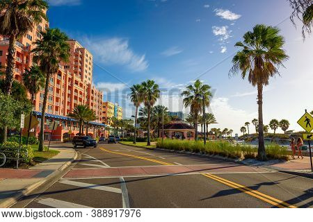 Clearwater, Florida, Usa - January 11, 2020 : Hyatt Regency Clearwater Beach Resort With Spa And The