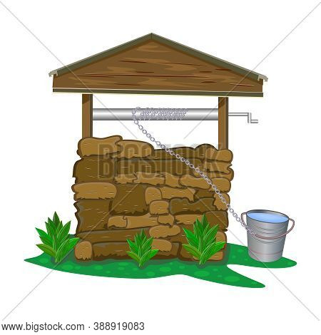 Stone And Wood Water Well Isolated On White Background. Rustic Cartoon Well Of Fresh Drinking Water