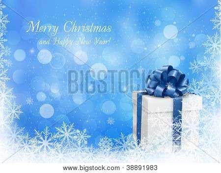 Christmas blue background with gift box and snowflake. Vector illustration.