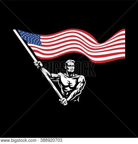 A Man With A Flag. A Muscular Man With A Naked Torso Waves A Large American Flag. Protest, Meeting,