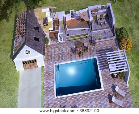 Aerial view of a luxurious house with swimming pool, section to show technical details