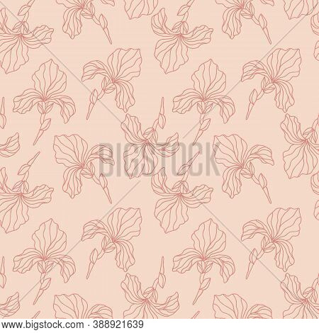 Floral Seamless Pattern With Iris Flowers, Endless Texture