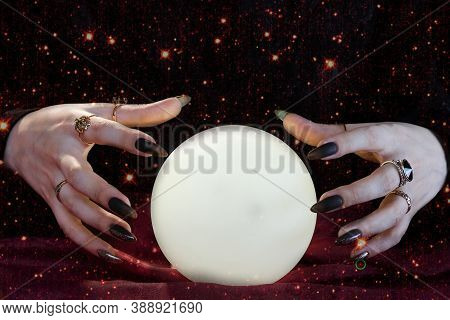Clairvoyance. Crystal Balls Hands Fortunetellers To Have Visions. Elements Of This Image Furnished B