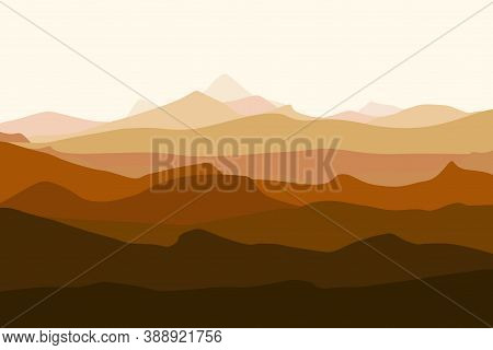 Mountains Landscape. Mountains Silhouettes Panorama At Dawn. Vector Forest Hiking Background
