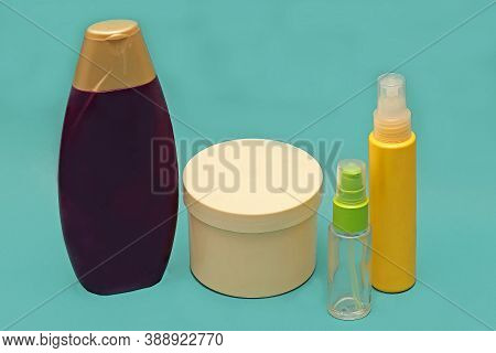 Closed Toiletries Colorful Bottles Accessories For Beauty Grooming