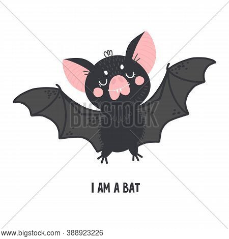 Bat, Cute Character, Vector Drawing For Halloween