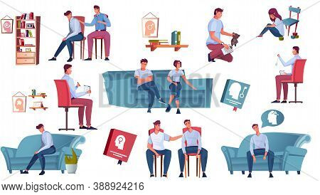 Psychology Set Of Flat Icons Human Characters Of Therapist And Clients Soft Furniture And Interior E