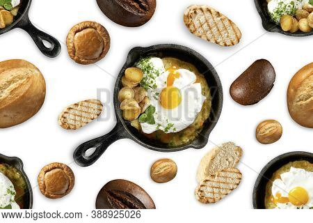 Seamless Pattern Fried Eggs In A Frying Pan, Different Types Of Bread. Delicious And Hearty Breakfas