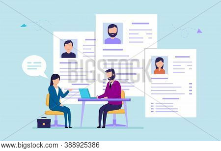 Office Work, Recruitment, Hr Service Concept. Hr Manager Interviewing Female Worker, Checking Resume