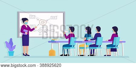 Education And Studies Concept. Pupils In The Classroom Or Students In Auditory Studying, Listening T