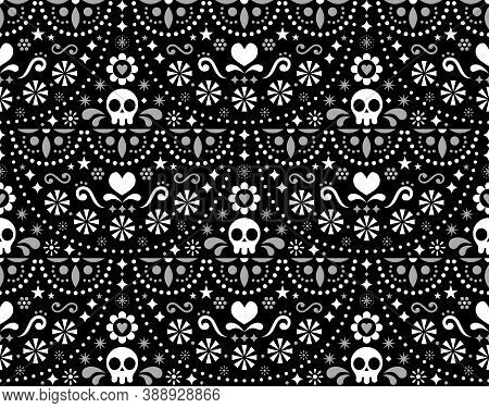 Mexican Folk Art Vector Seamless Pattern With Skulls, Halloween Decor, Flowers And Abstract Shapes,