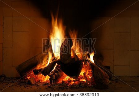 Fireplace with fire burning wood in it