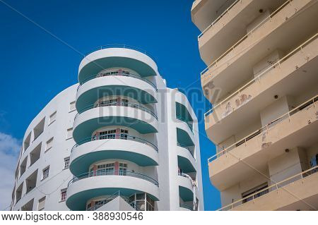 Architecture Detail Of Modern Apartment Building In Quarteira, Portugal