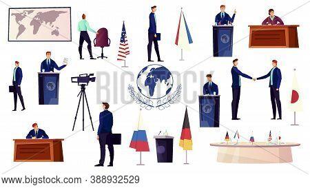 Diplomacy Icons Set With Politics Symbols Flat Isolated Vector Illustration