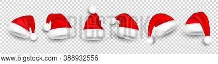 Christmas Santa Claus Hats With Fur. New Year Red Hat Isolated On Transparent Background. Winter Cap