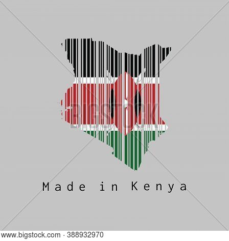 Barcode Set The Shape To Kenya Map Outline And The Color Of Kenya Flag On Grey Background, Text: Mad