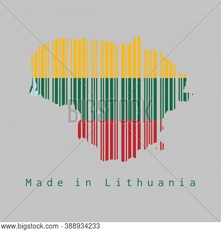 Barcode Set The Shape To Lithuania Map Outline And The Color Of Lithuania Flag On Grey Background, T
