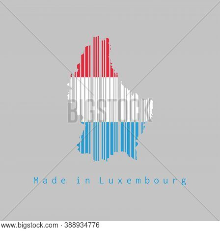 Barcode Set The Shape To Luxembourg Map Outline And The Color Of Luxembourg Flag On Grey Background,