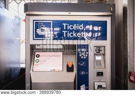 Dublin, Ireland - February 15, 2019: Automatic Ticket Purchase Machine In Howth Dart Train Station O