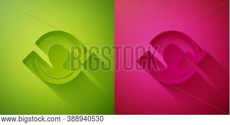 Paper Cut Human Resources Icon Isolated On Green And Pink Background. Concept Of Human Resources Man