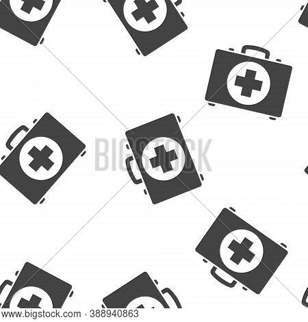 Vector Icon Indicates The Presence Of First-aid. Doctor. First Aid Kit Seamless Pattern On A White B