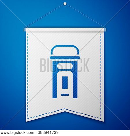 Blue London Phone Booth Icon Isolated On Blue Background. Classic English Booth Phone In London. Eng