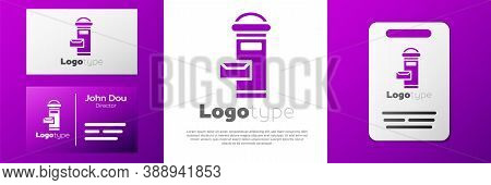 Logotype Traditional London Mail Box Icon Isolated On White Background. England Mailbox Icon. Mail P