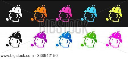 Set Sherlock Holmes With Smoking Pipe Icon Isolated On Black And White Background. Detective. Vector
