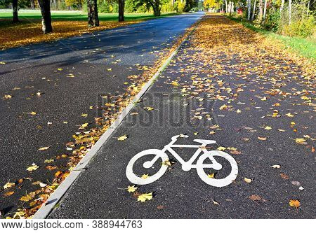 Bicycle Painted On Bicycle Path In Hallabrottet Kumla Sweden