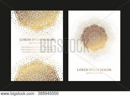 Gold And White Luxury Invitation Card Design With Vector Mandala. Vintage Ornament Template. Can Be