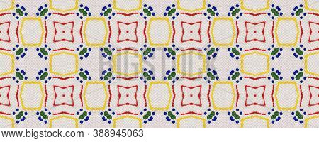 Geometric Rug Pattern. Green, Red, Yellow, Blue Seamless Texture. Repeat Tie Dye Rapport. Ikat Persi