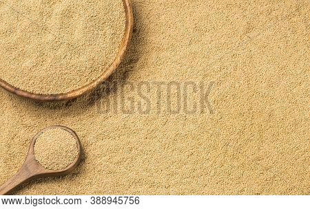 Amaranth Seeds In Wooden Spoon - Amaranthus. Folic Acid