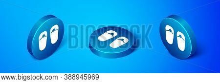 Isometric Flip Flops Icon Isolated On Blue Background. Beach Slippers Sign. Blue Circle Button. Vect