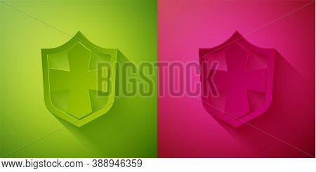 Paper Cut Shield Icon Isolated On Green And Pink Background. Guard Sign. Security, Safety, Protectio